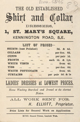 Advert for the Old Established Shirt and Collar Dressers, laundry house